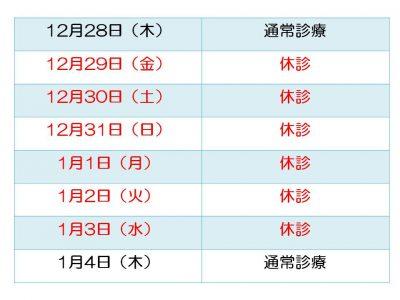 2017-2018年ひなた内科冬季休暇