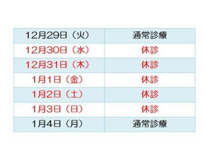 2020-2021 冬期休暇